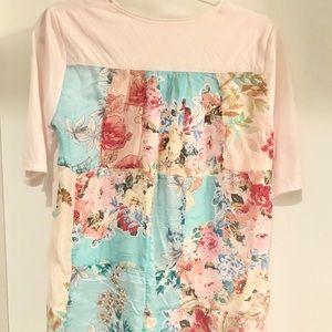 Light Pink & Silk Floral T Shirt. MEDIUM
